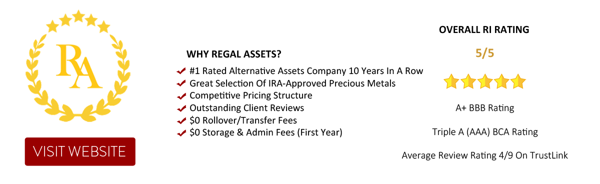 Regal Assets - A Top Ranked Alternative Assets Company 10 years in a row. Gold IRA, Regal IRA
