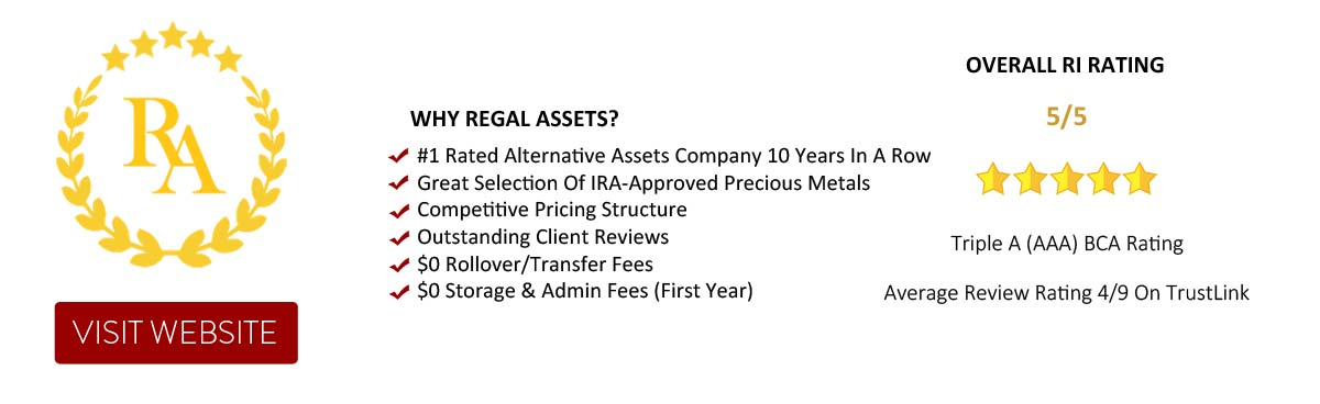 Regal Assets - The #1 rated Alternative Assets company 10 years in a row, top rated Gold IRA Company